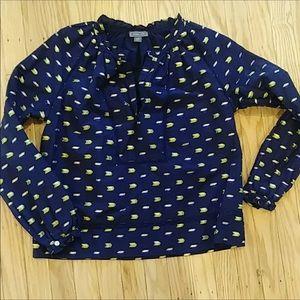 J Crew/Point Sur Navy blouse w beautiful stitching